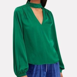 INTERMIX ✨NWT Emerald Elaine Choker Silk Blouse